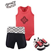 Yoga Sprout Baby Bodysuits, Shorts and Shoes Set, Ornate Clover, 3-6 Months (6M)