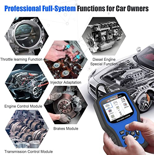 Enhanced AP7610 Multi-System Diagnostic Scanner With Transmission EPB ABS SRS DPF TPMS Check Engine Oil.