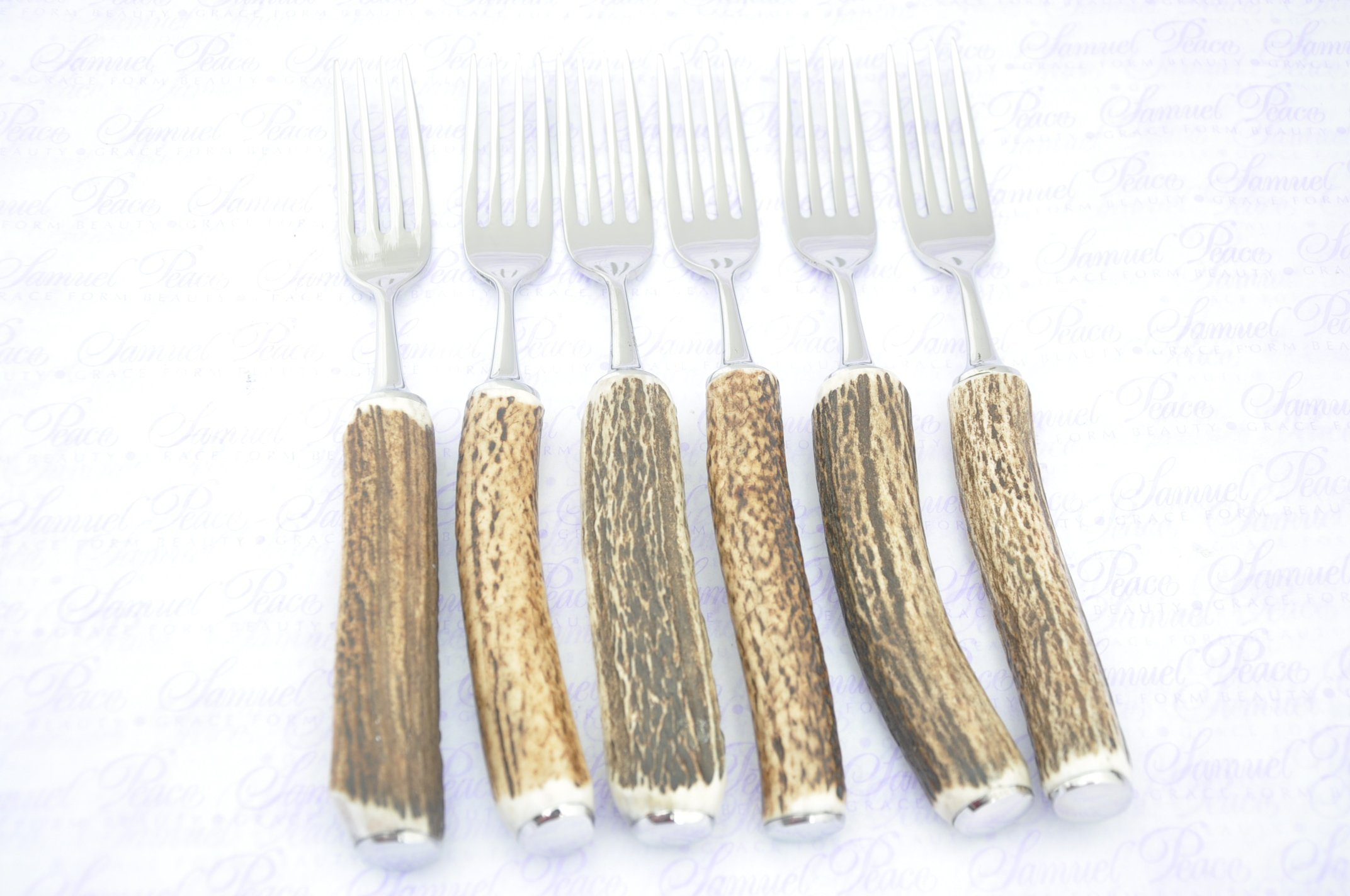 Six Genuine Stag Horn/Antler Handle Table Forks Boxed Made In Sheffield England by Sheffieldcutleryshop (Image #7)