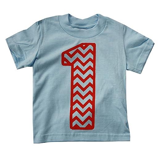 Happy Family Clothing Baby Boys Chevron Print First Birthday Light Blue T Shirt