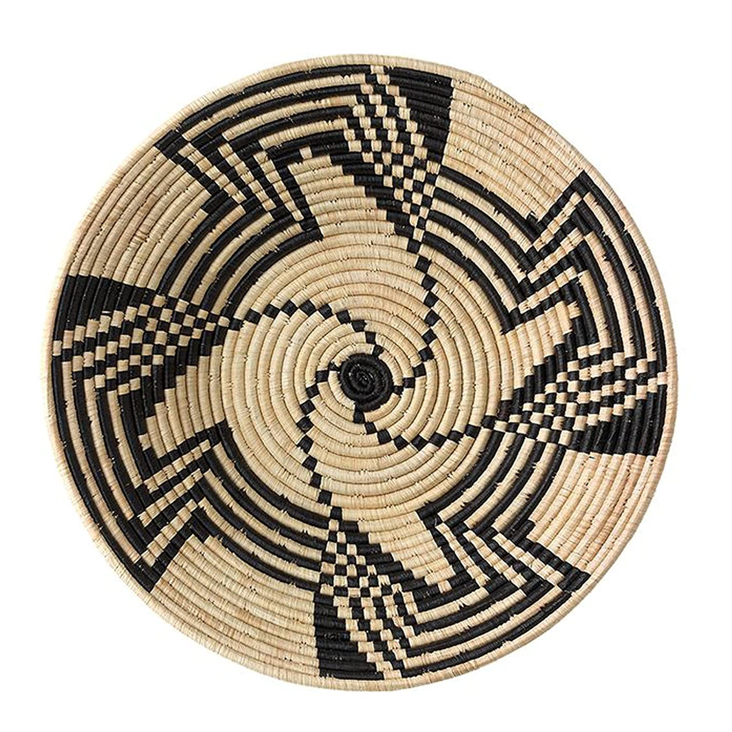 The Crabby Nook Black Swirl Design Fruit or Display African Basket Handwoven Home Decor African Artist 47682