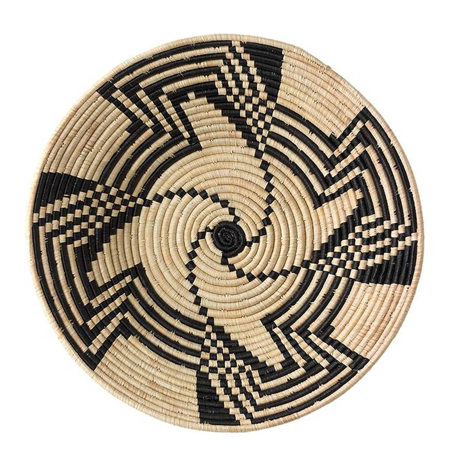 Black Swirl Design Fruit or Display African Basket Handwoven Home Decor