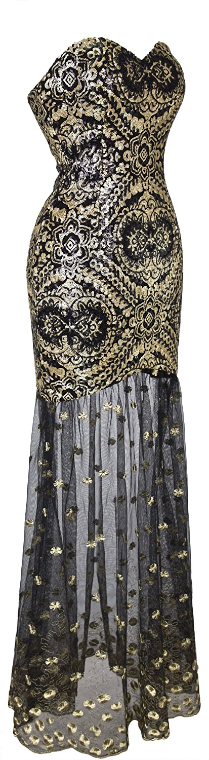 Angel-fashions Womens Sleeveless V-Neck Sequins Lace Up Patterned Prom Dress