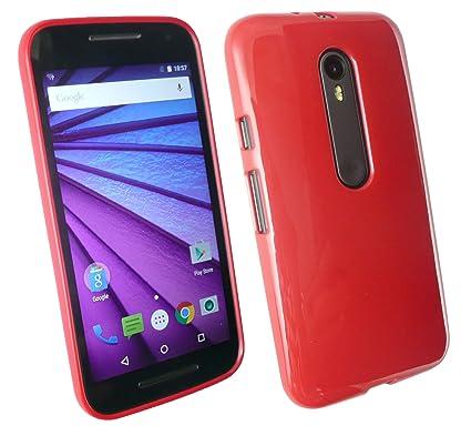 Emartbuy Motorola Moto G3 (3rd Generation) Shiny Gloss TPU Gel Funda Carcasa Case Cover Red