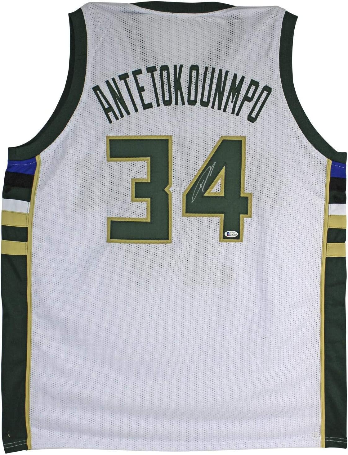 Bucks Giannis Antetokounmpo Signed White Jersey BAS Witnessed - Autographed NBA Jerseys