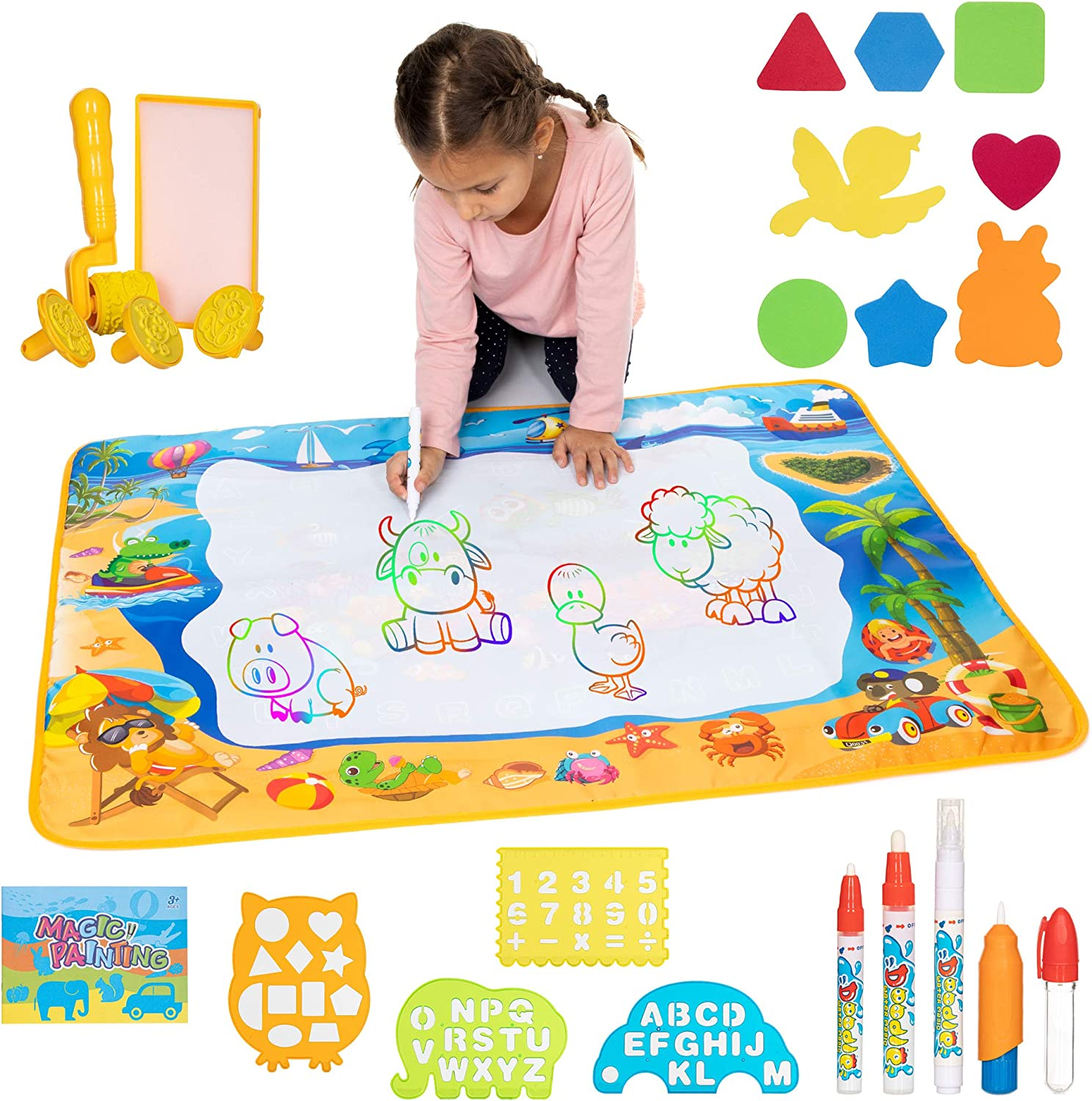 Toys Gem Water Drawing Mat Set with 4 Pens and Drawing Accessories 40 x 28 inch Large Aqua Magic Doodle Mat Educational Toys for Boys and Girls Gift for Ages 3 and Up
