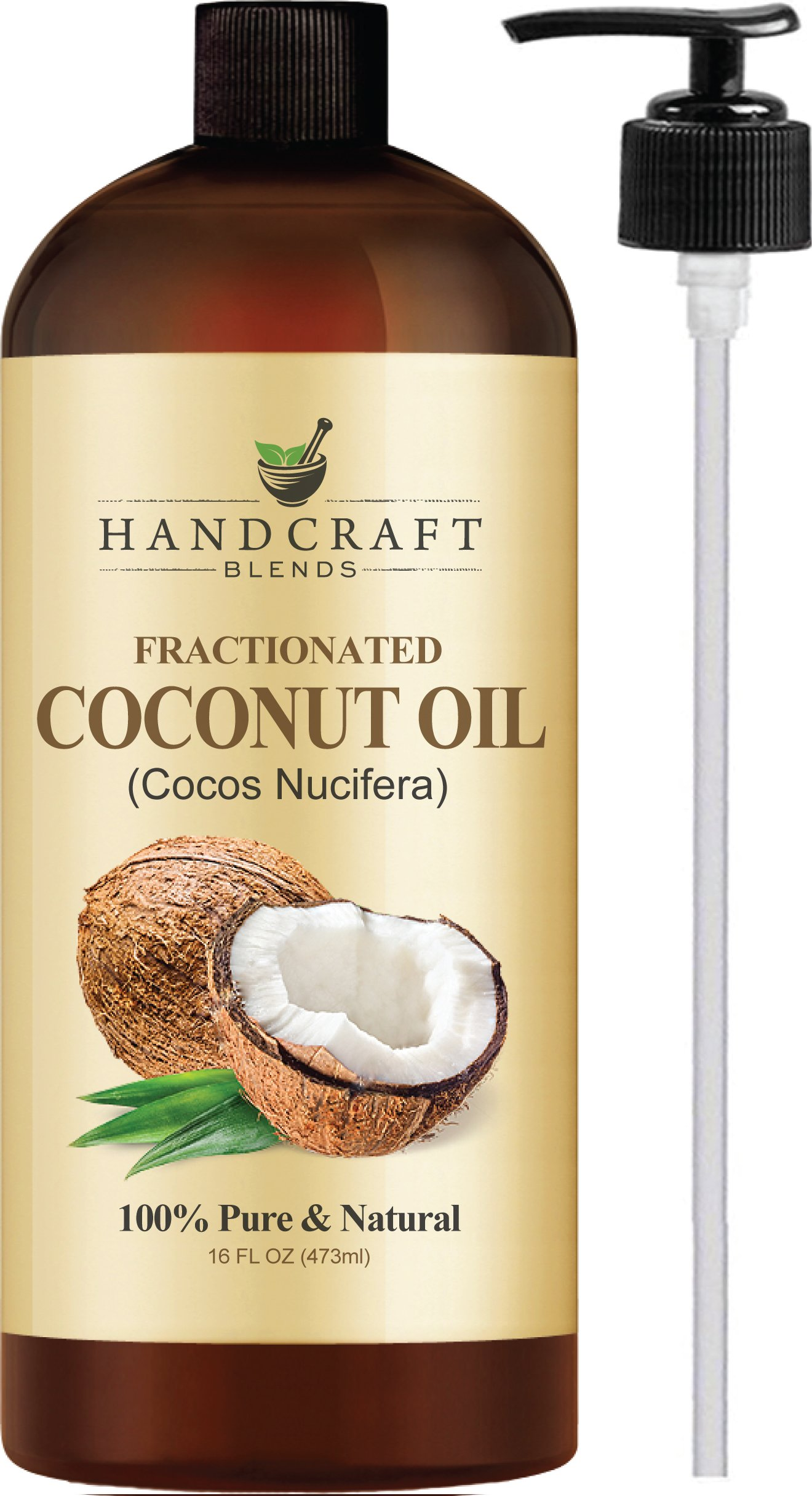 Handcraft Fractionated Coconut Oil - 100 Percent Pure and Natural - Premium Therapeutic Grade Carrier Oil for Aromatherapy, Massage, Moisturizing Skin and Hair - 16 oz by Handcraft Blends