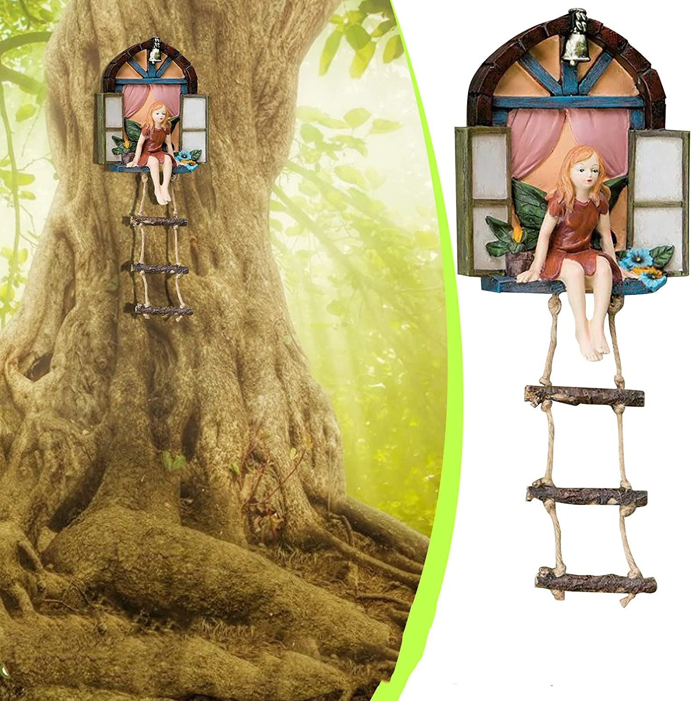 Garden Sculptures & Statues - Fairy House with Ladder Hanging Tree Sculpture,Creativity Garden Tree Decoration,Whimsical Garden Statues & Sculptures Outdoor Decor,Patio Yard Decor