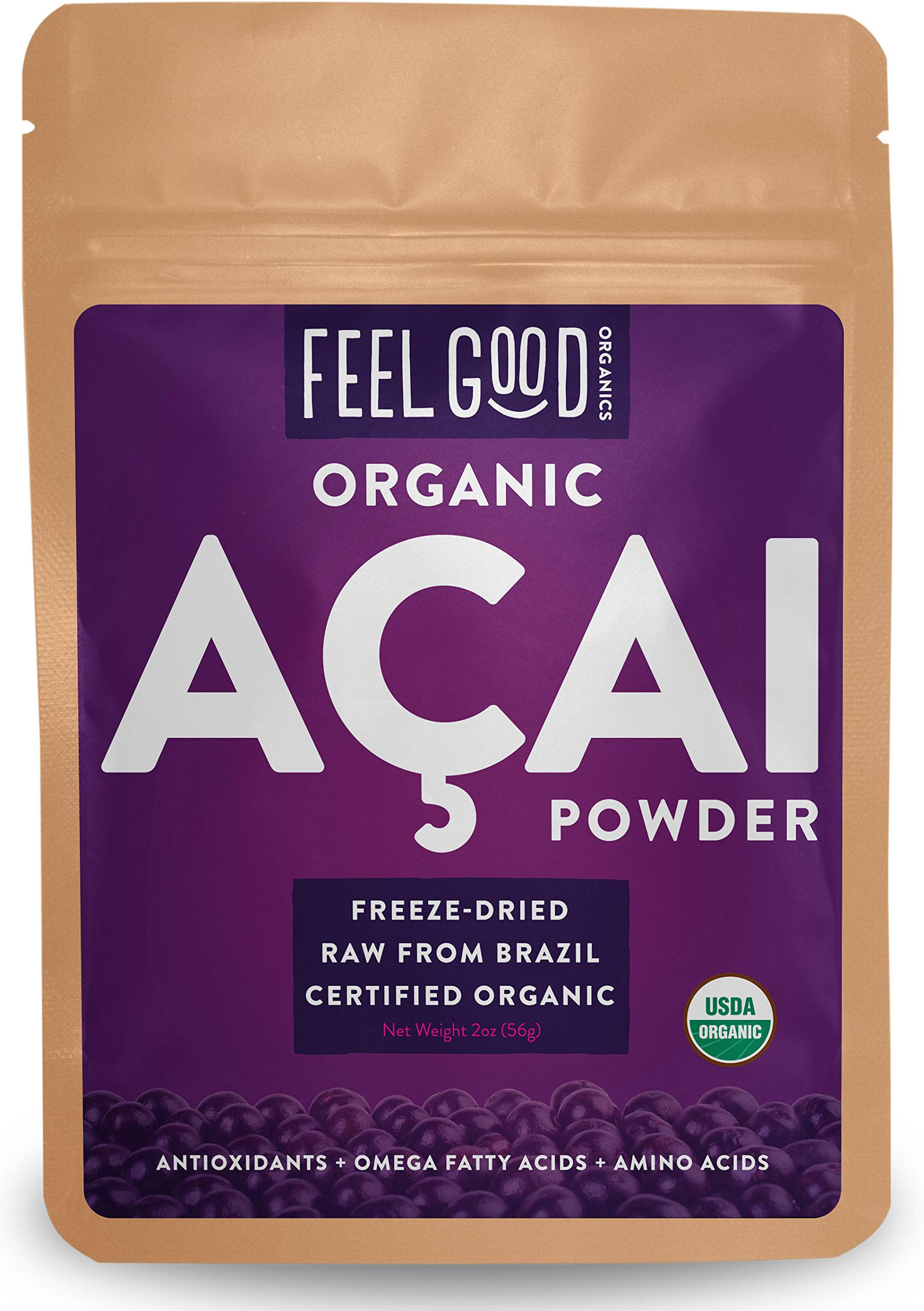 Organic ACAI Powder (Freeze-Dried) - 2oz Resealable Bag - 100% Raw Antioxidant Superfood Berry From Brazil - by Feel Good Organics