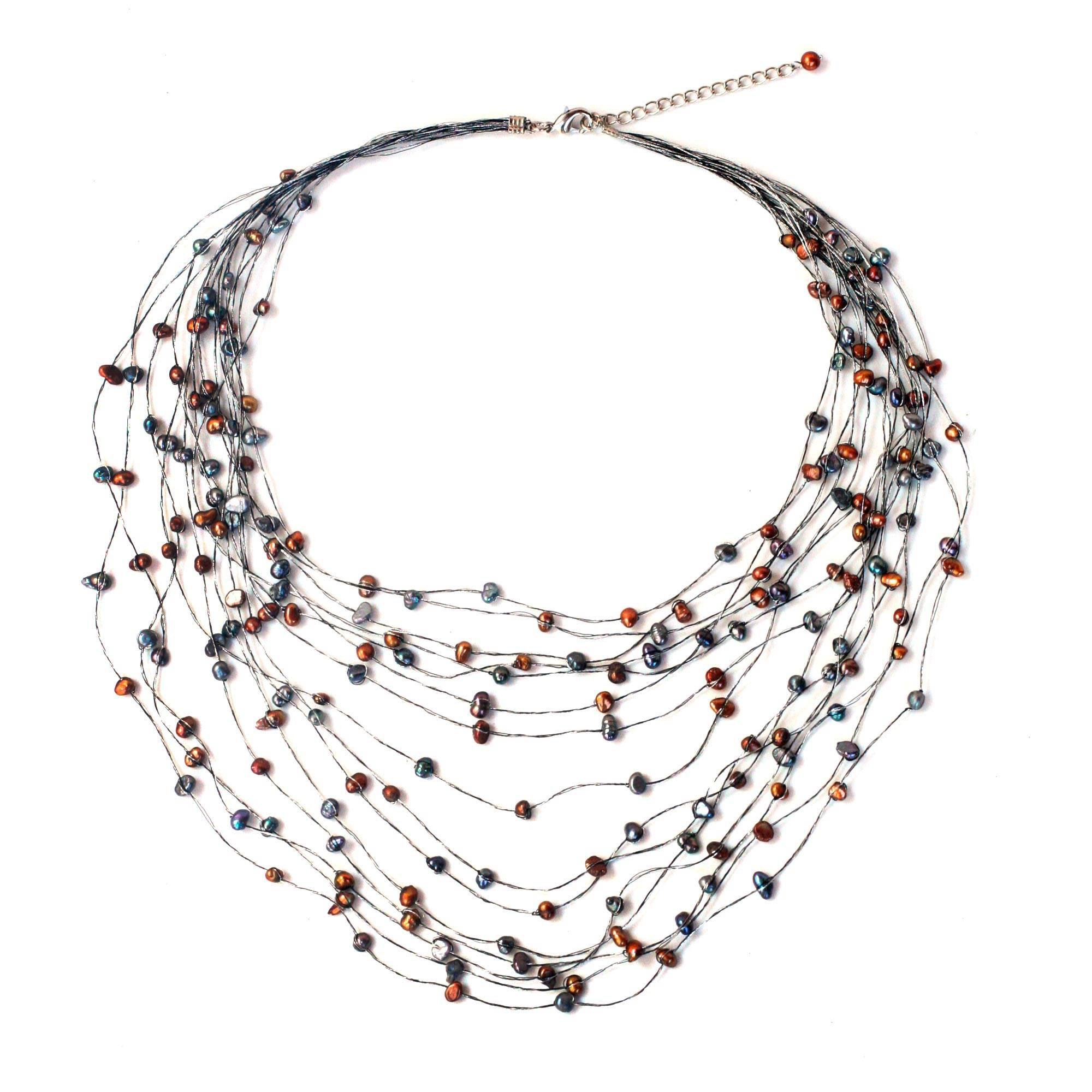 NOVICA Dyed Cultured Freshwater Pearl Multi-strand Necklace, 18'' with 2'' Extender, 'Honey Shadow'