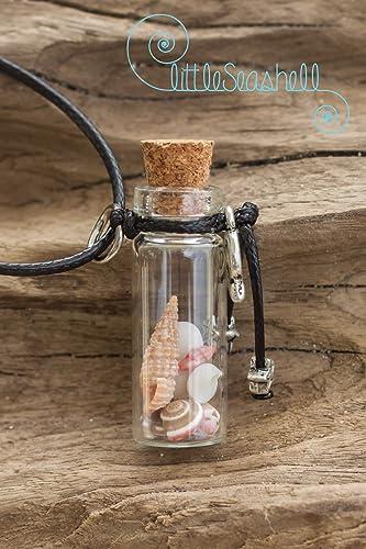 Bohemia shell mujer collar colgante frasco vidrio idea de regalo, collar de cumpleaños, hermana