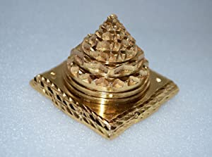 BLESSED & ENERGIZED SHRI SRI MERU YANTRA IN PURE BRASS AND GOLD POLISHED-FOR SPIRITUAL POWERS, CORRECTING VAASTU DOSH (IMBALANCES), ENORMOUS WEALTH & PROSPERITY