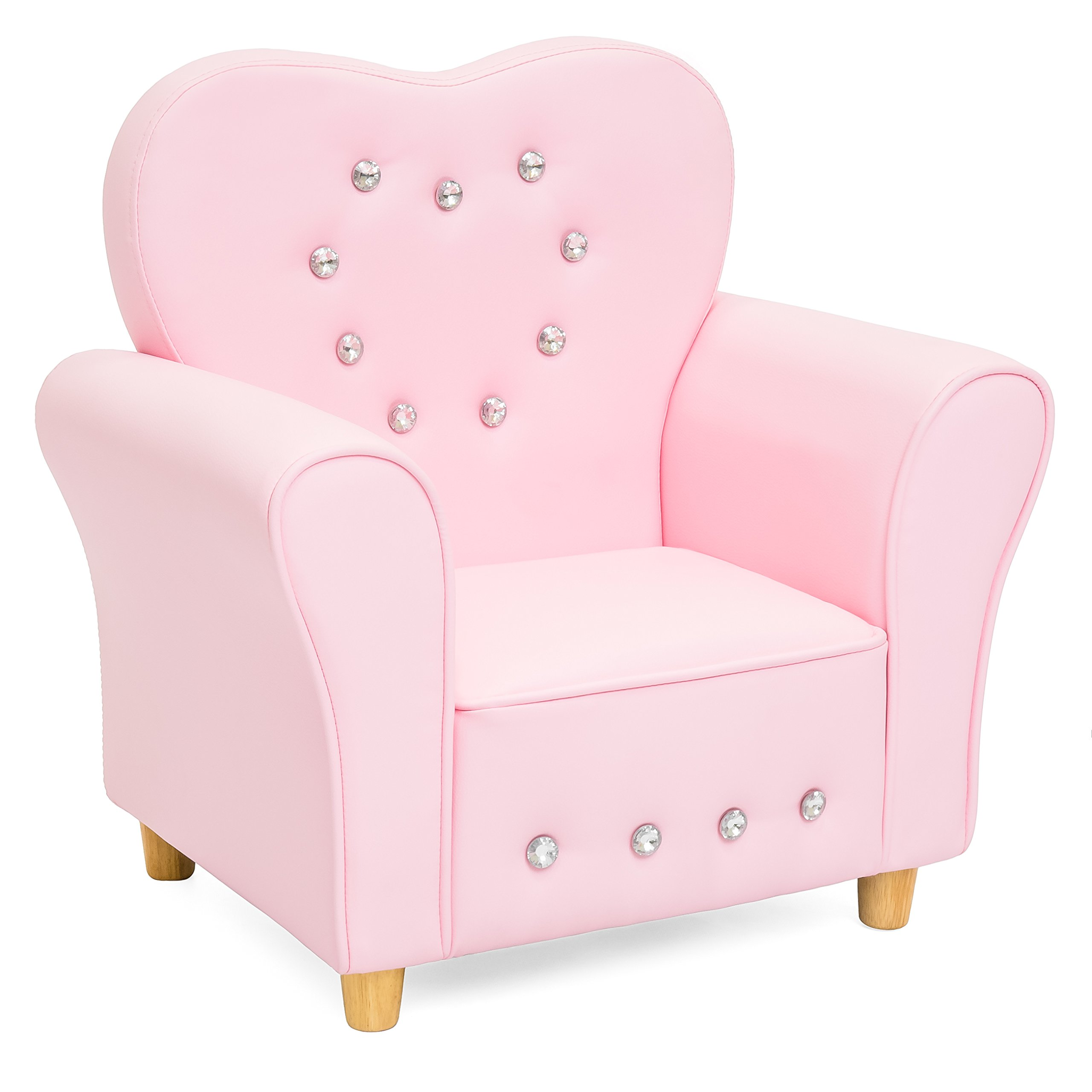 Best Choice Products Kids Heart-Shape Accent Chair Seat w/Armrest and Rhinestones - Pink
