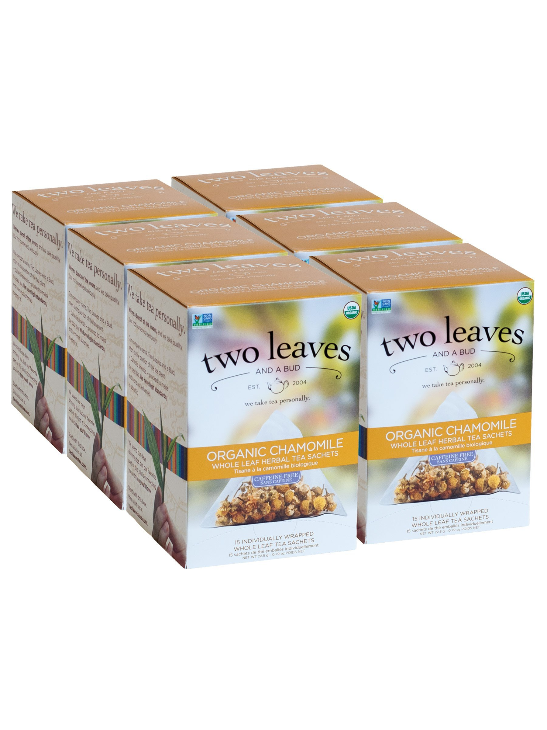 Two Leaves and a Bud Organic Chamomile Herbal Tea Bags, 15 Count (Pack of 6) Organic Whole Leaf Caffeine Free Herbal Tea in Sachet Bags, Delicious Hot or Iced with Sugar or Honey or Plain