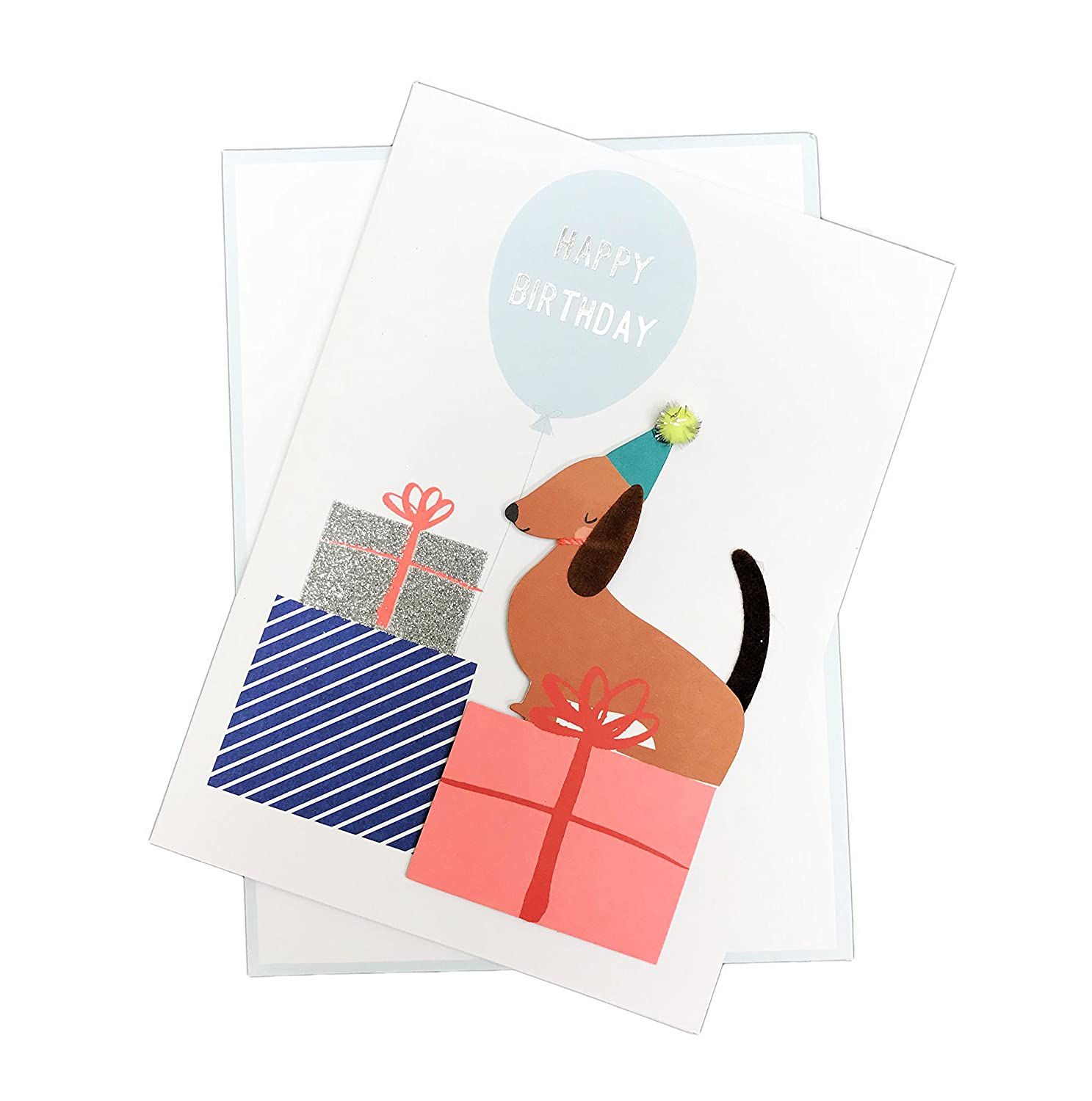 Amazon Cute Embellished 5 X 7 Birthday Greeting Card Envelope Dog Office Products