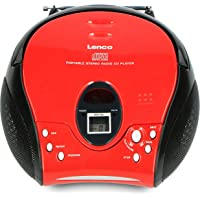 Lenco SCD-24 Portable Stereo Boombox with CD Player & FM Radio – Red/Black