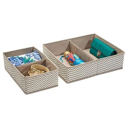 mDesign Organizador para cajones - Bandeja organizadora para gaveta con compartimentos para ropa interior - Set