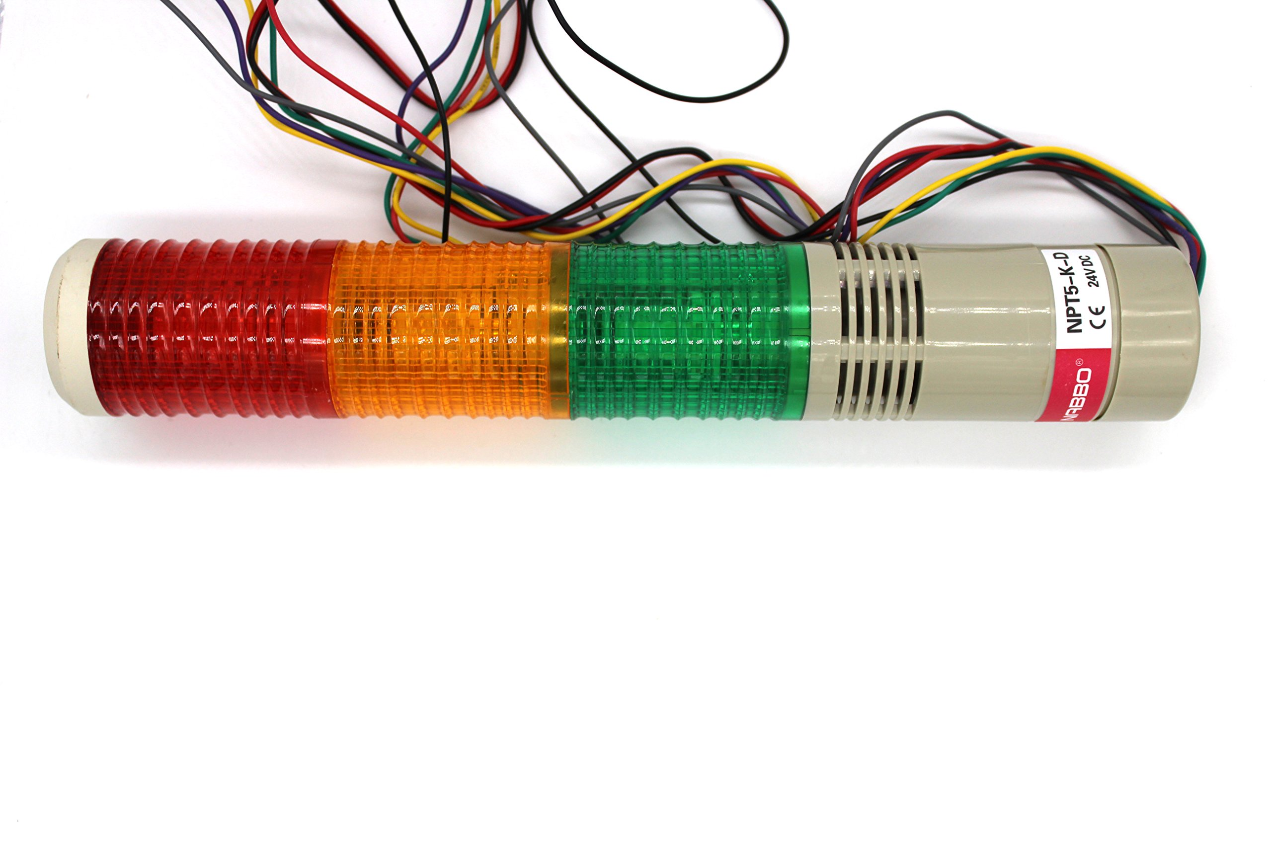 MAJIAWEI Industrial Signal Light Column LED Alarm Round Tower Light Indicator Warning Light Red Green Yellow DC 24V (Steady ON OR Steady Flash)