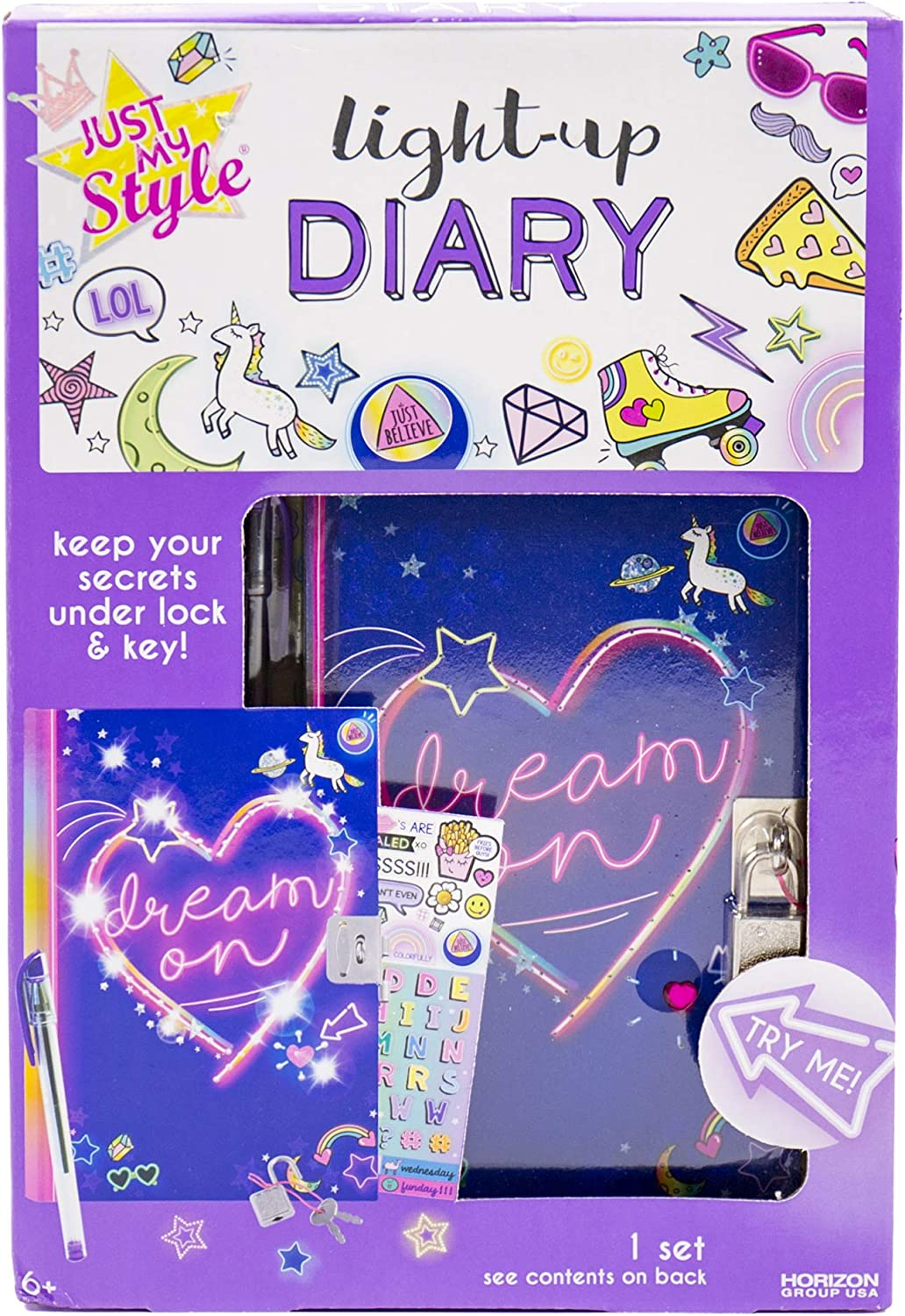 Just My Style Light Up Diary By Horizon Group Usa, Keep Your Secrets Under Lock & Key! Write Your Secret Messages & Decorate Pages with Colorful Stickers! Light Up Cover