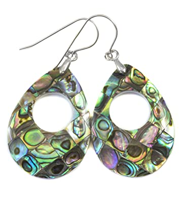 fad93901f Amazon.com: Sterling Silver Mother of Pearl Abalone Shell Earrings ...