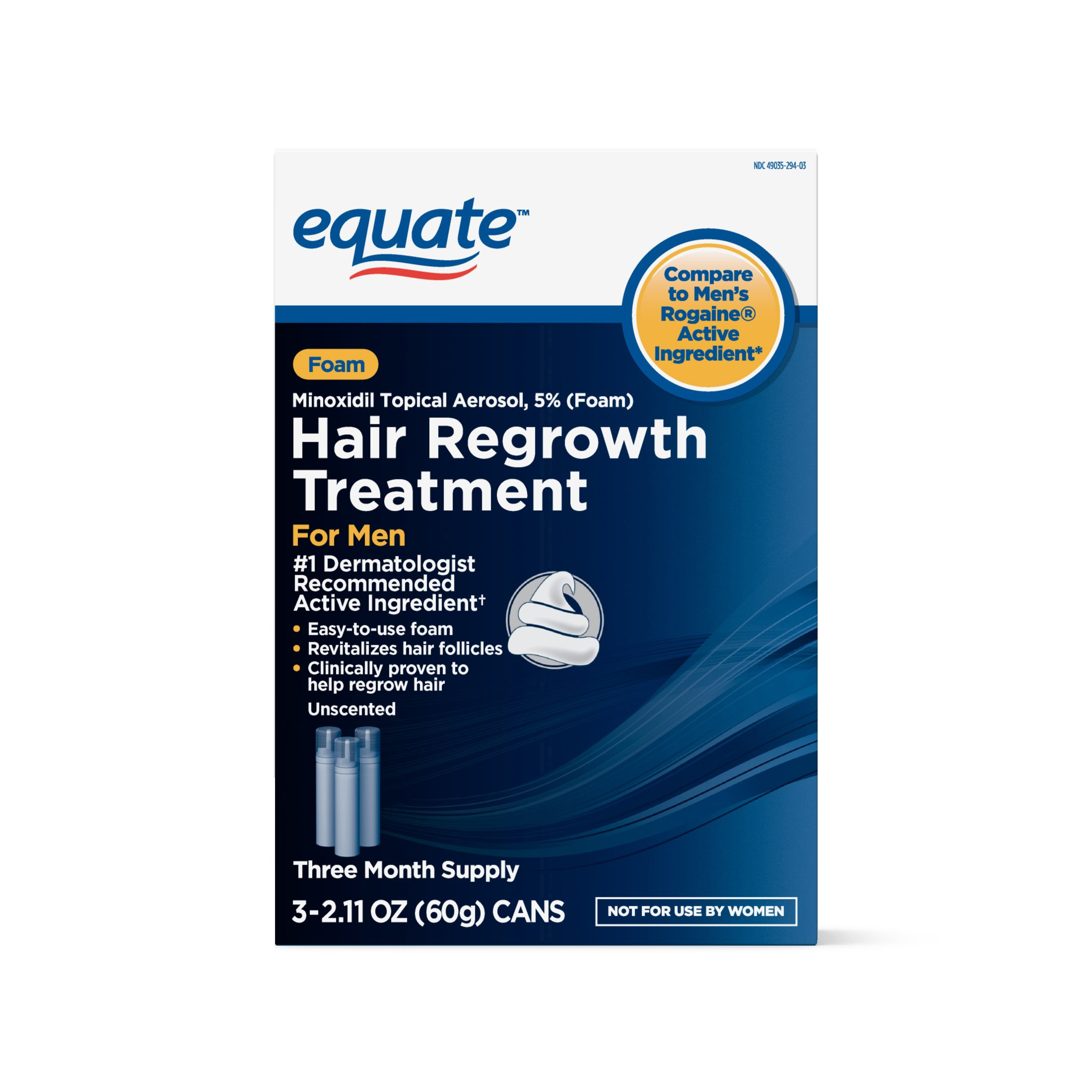 Equate - Hair Regrowth Treatment for Men, Minoxidil 5%, Topical Aerosol Foam, 3 Month Supply