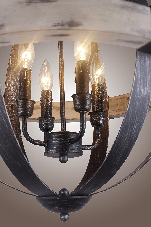 Castello Black Aspen Wrought Iron Globe Wood 4 Light Dia 20 Chandelier Com