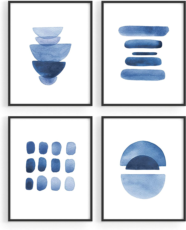 Abstract Blue Wall Art Prints - by Haus and Hues | Set of 4 Abstract Art Blue Wall Decor for Living Room Wall Art | Watercolor Prints Wall Art | Navy Blue Wall Art | (8