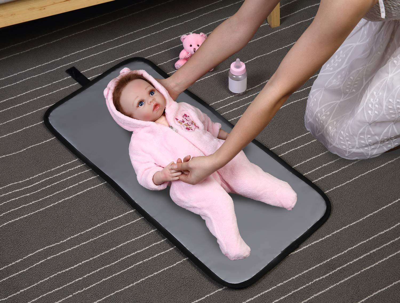 ELENTURE Diaper Changing Pad Black//White Stripe Baby Infant Portable Travel Changing Station Mat Bag