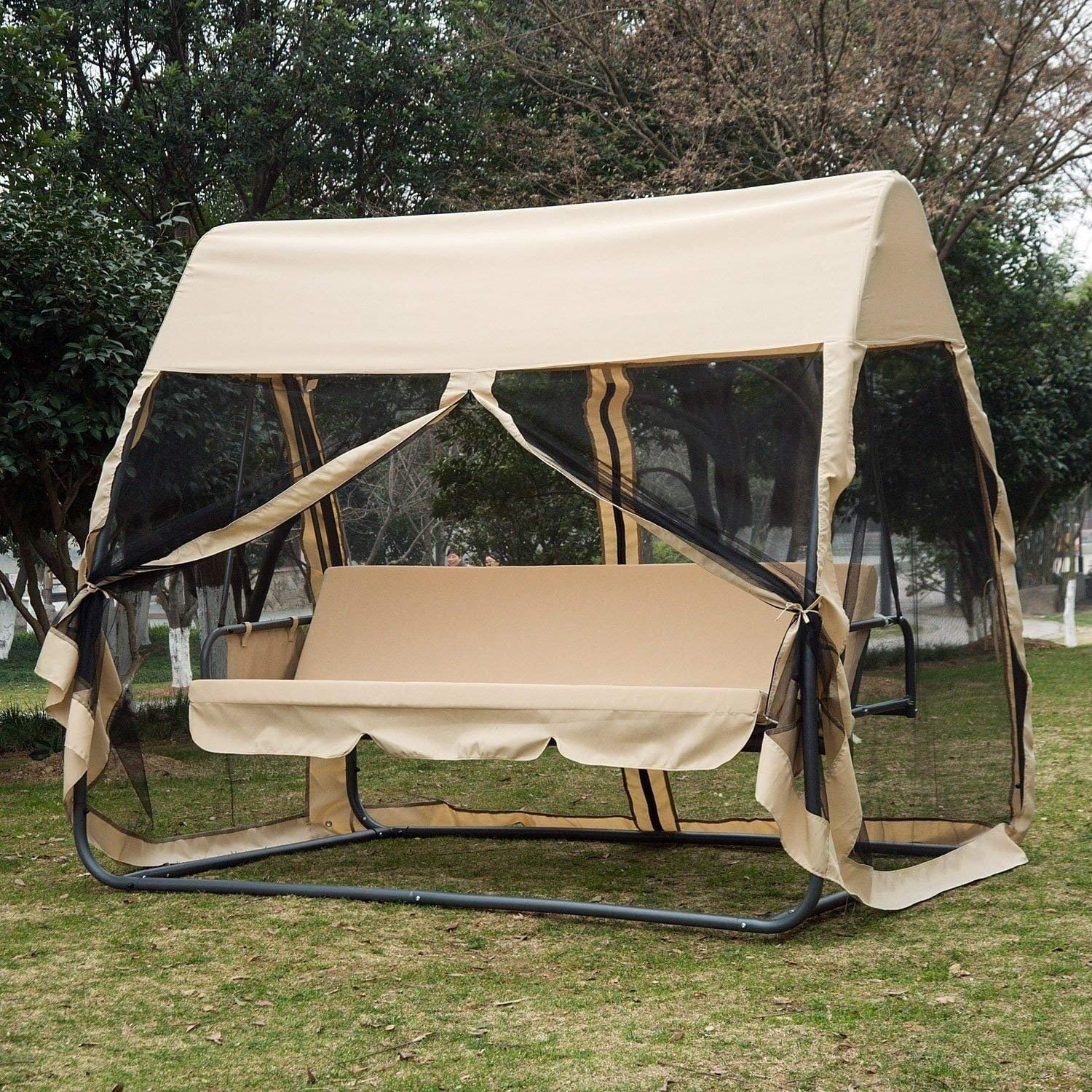 Outsunny 3 Seat Outdoor Covered Convertible Swing Chair/Bed with Mosquito Netting