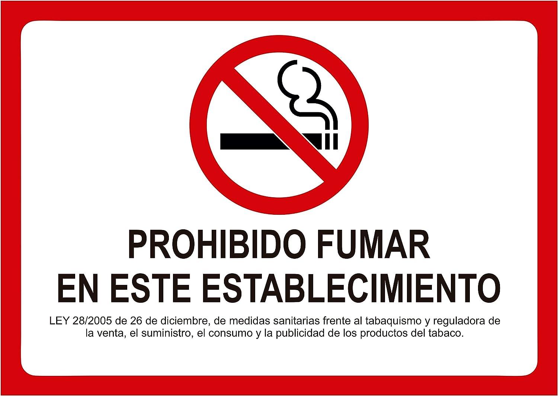 Vinilo de Prohibido Fumar para Establecimientos 29x21cm | Pegatina Adhesivo Prohibido Fumar con Ley Reguladora | Fabricado en Vinilo Blanco | Resistente y Duradero Oedim