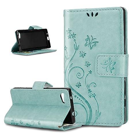 Kompatibel mit Sony Xperia Z5 Compact Hülle,Malerei Schmetterling Muster PU Lederhülle Flip Hülle Cover Schale Ständer Etui K