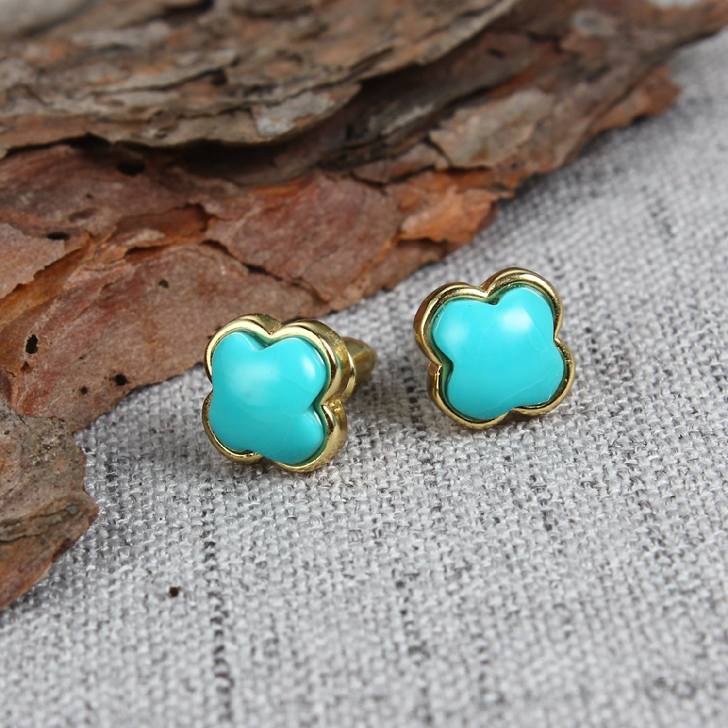Bonnie S925 Sterling Silver Gemstone Birthstone Stud Earrings Silver//Gold Plated Turquoise Earring Stud for Women 6-12mm