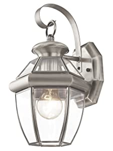 Livex Lighting 2051-91 Monterey 1 Light Outdoor Brushed Nickel Finish Solid Brass Wall Lanternwith Clear Beveled Glass