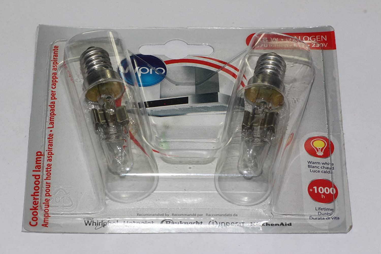 2 x WPRO Dr Fischer Cooker Hood Appliance Halogen Lamps / Bulb 240V 28W E14 T25 [Energy Class D] 484000008834