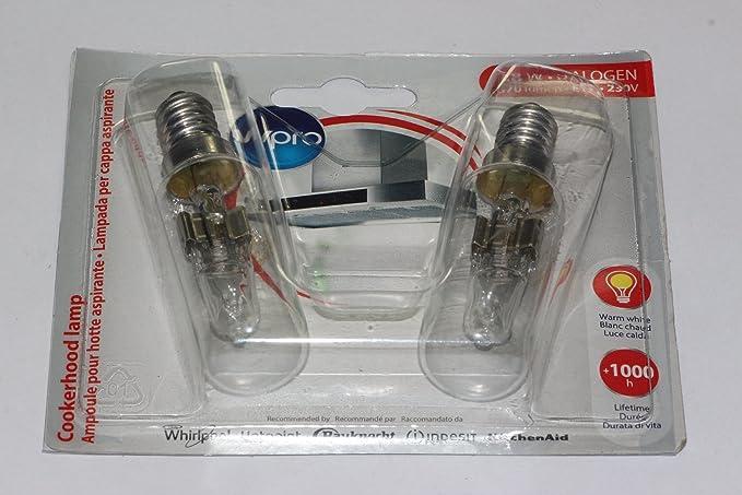 2 lampade per cappa aspirante 28w halogen370 lumen e14 230 volt