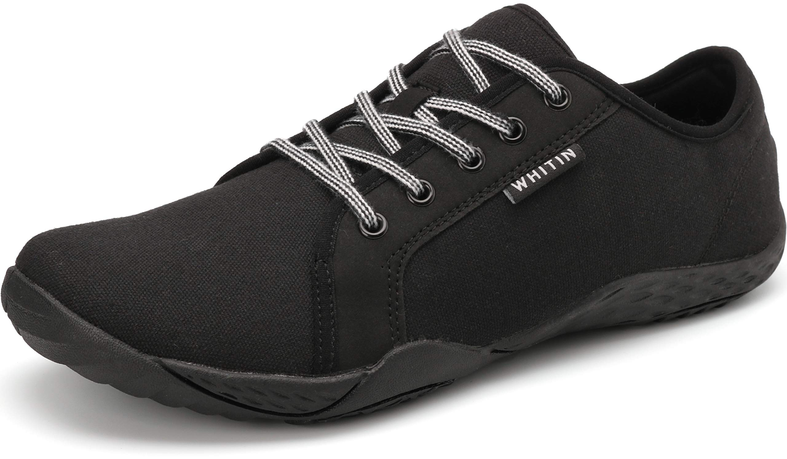 WHITIN Women's Canvas Minimalist Barefoot Sneakers - Arch Support - Lace Up Wide Fit