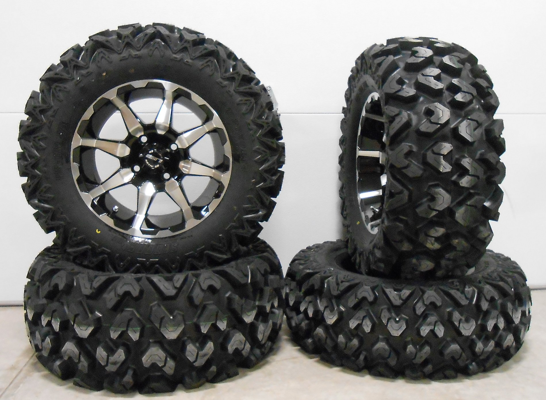 Bundle - 9 Items: STI HD6 14'' Wheels Machined 27'' Rip Saw Tires [4x156 Bolt Pattern 12mmx1.5 Lug Kit]