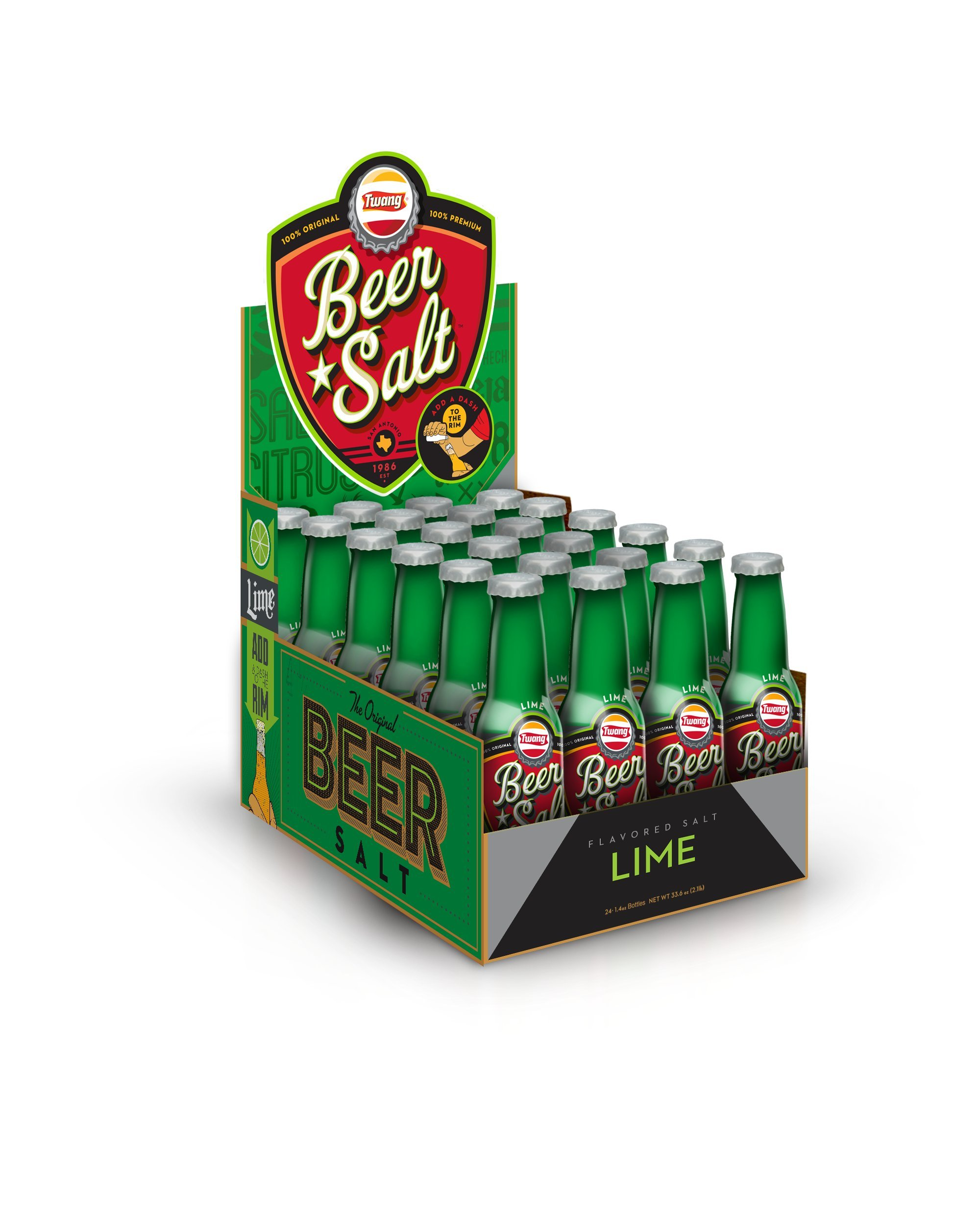 Twang Lime Flavored Salt, Beer Salt Box, Citrus Dressed Beer, 1.4 Ounce Mini Bottles, 24 Count by Twang