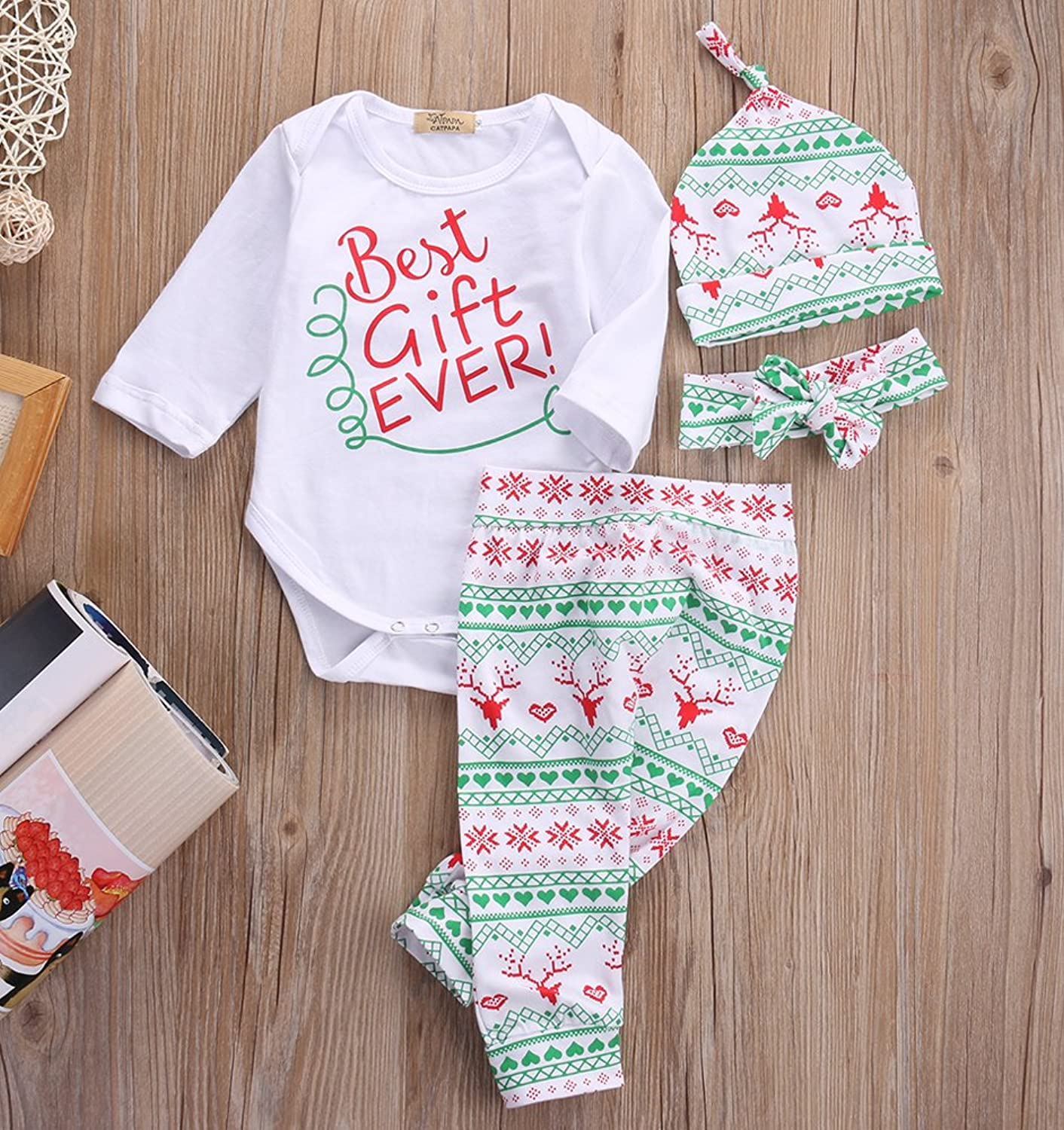 Amazon Baby Girls Toddler 4pcs Cute Set Bodysuits Leggings