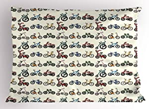 """Ambesonne Sports Pillow Sham, Colorful Composition of Bicycles Boys Girls Riding Sports Activity Theme Pattern, Decorative Standard King Size Printed Pillowcase, 36"""" X 20"""", Indigo Red"""
