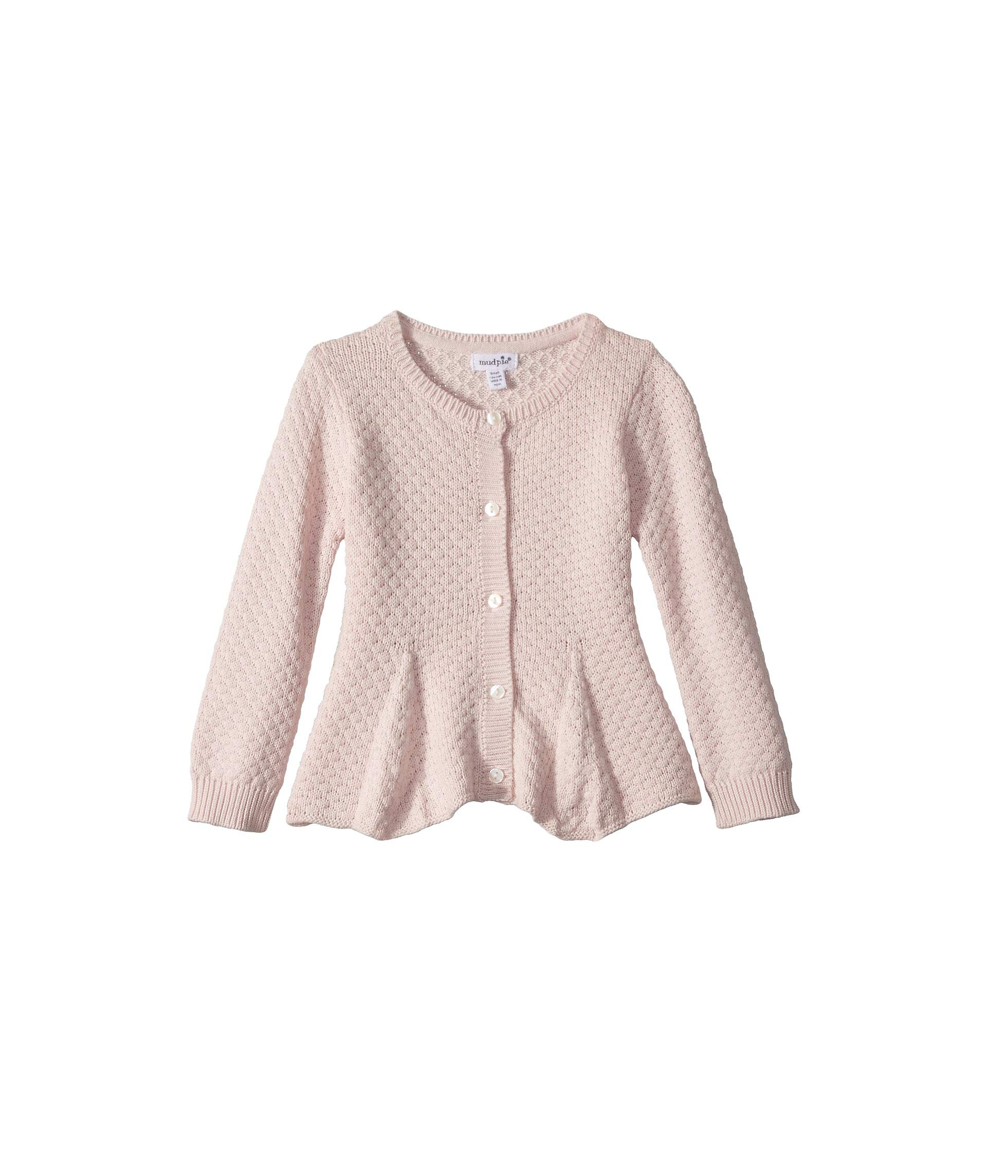 Mud Pie Baby Girl's Peplum Cardigan (Infant/Toddler) Pink MD (2T-3T Toddler) by Mud Pie