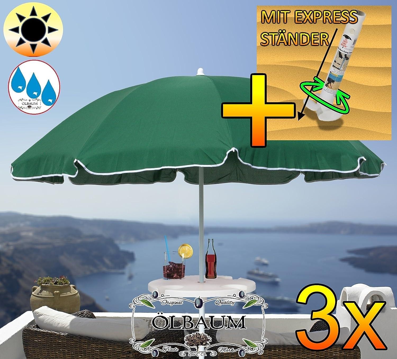 3 Stck. Großer Sonnenschirm mit Getränketisch, 180 cm / Ø 1,80 m (grün), Sonnendach Schirm, XXL Strandschirm, moosgrün, 8-teilig / 8-eckig massiv robust, Strandschirm, XXL-Klappschirm, Gartenschirm extrem wetterfest, klappbar, tragbar, seewasserfest, hochwertig robust stabil, Sonnenschutz, stabiler Schirm Klappschirm, dunkelgrün, Strandschirme, Sonnenschirme, Sonnenschirm-Tische, Regenschirm Picknickschirme, Gartenmöbel Holz