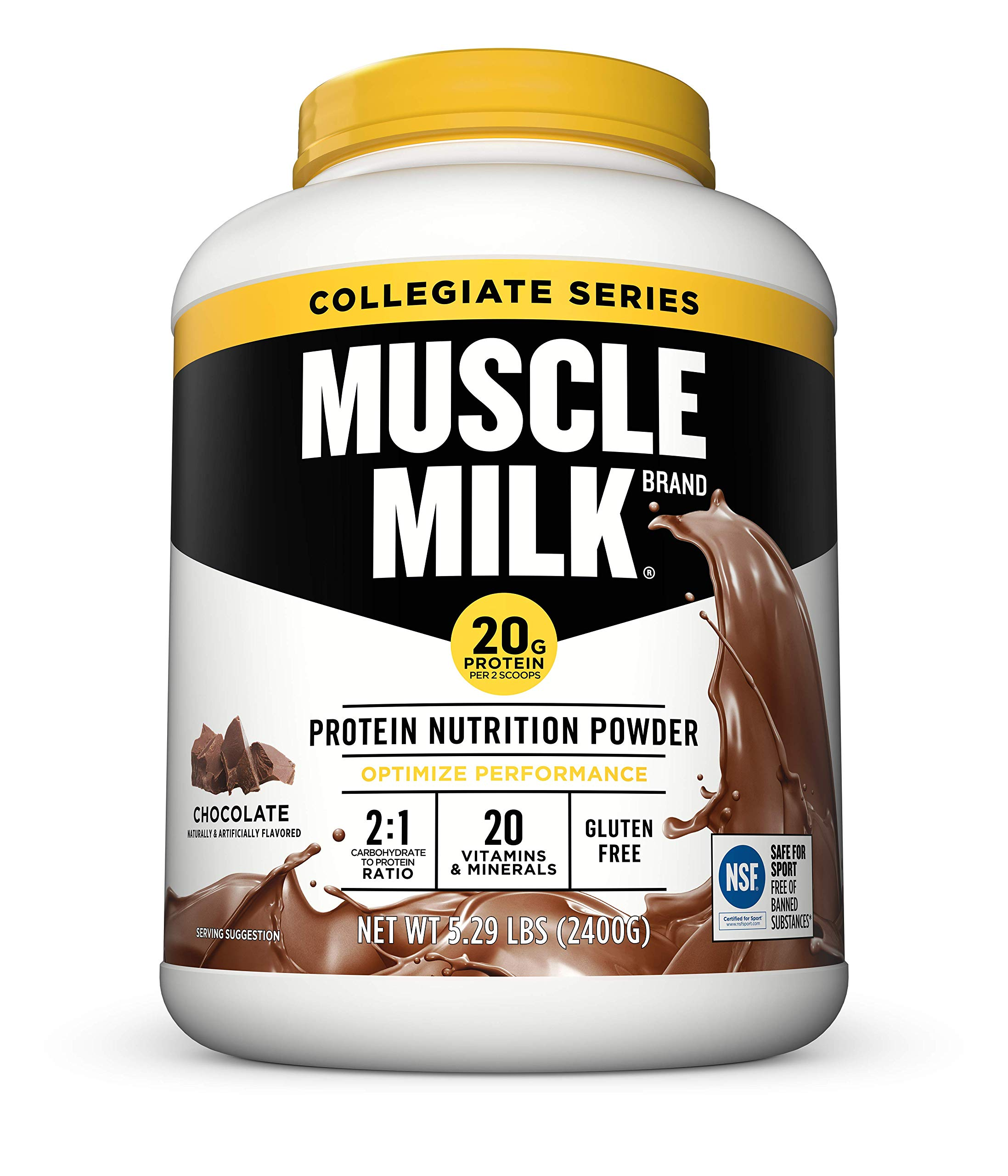 Muscle Milk Collegiate Protein Powder, Chocolate, 20g Protein, 5.29 Pound ( Pack May Vary ) by CytoSport