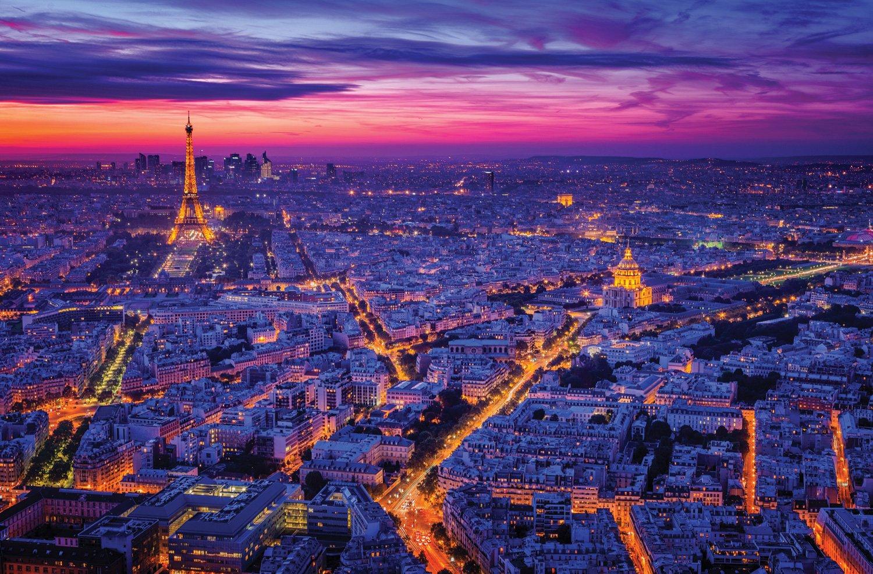 JP London Heavyweight Non Woven Art JPL and Juan Pablo depresent Paris I City Lights Dusk Skyline 36in x 24in Prepasted Fully Removable Wall Poster Mural SPMURLT1X369983