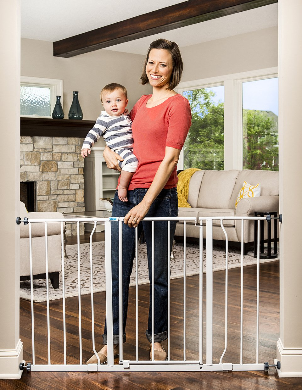 Regalo Easy Open 47-Inch Super Wide Walk Thru Baby Gate, Bonus Kit, Includes 4-Inch and 12-Inch Extension Kit, 4 Pack Pressure Mount Kit and 4 Wall Cups and Mounting Kit by Regalo