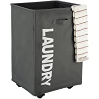 """CAROEAS 22"""" Pro ROLLING Laundry Cart White&Grey Clothes Hamper Mesh Cover Laundry Storage Cart Collapsible Laundry…"""