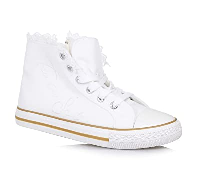 9c388efa6a45b4 Twin-Set - Weißer Schuh mit Schnürsenkeln aus Stoff, phantasievoll und  modisch, seitlich