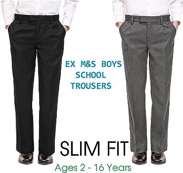 ex BHS Boys Black /& Grey Regular Fit School Trousers Elastic Adjustable Waist 3-16 Yrs