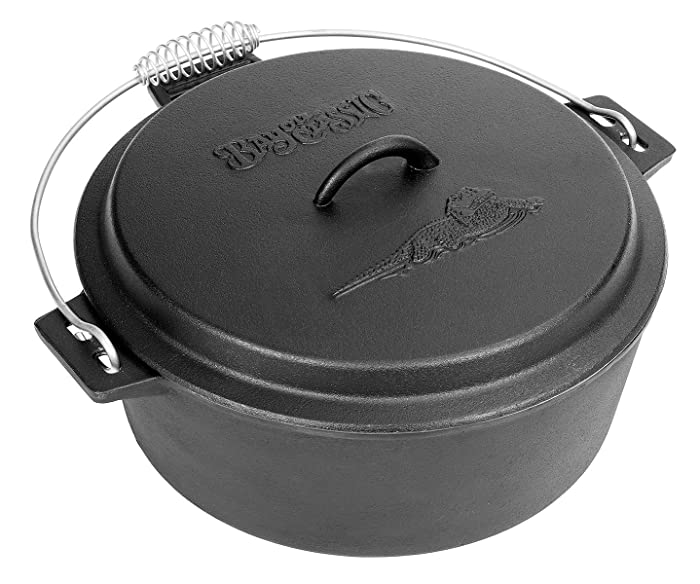 Bayou Classic 7410 Cast Iron Chicken Fryer with Dutch Oven Lid, 10 Quart, Black