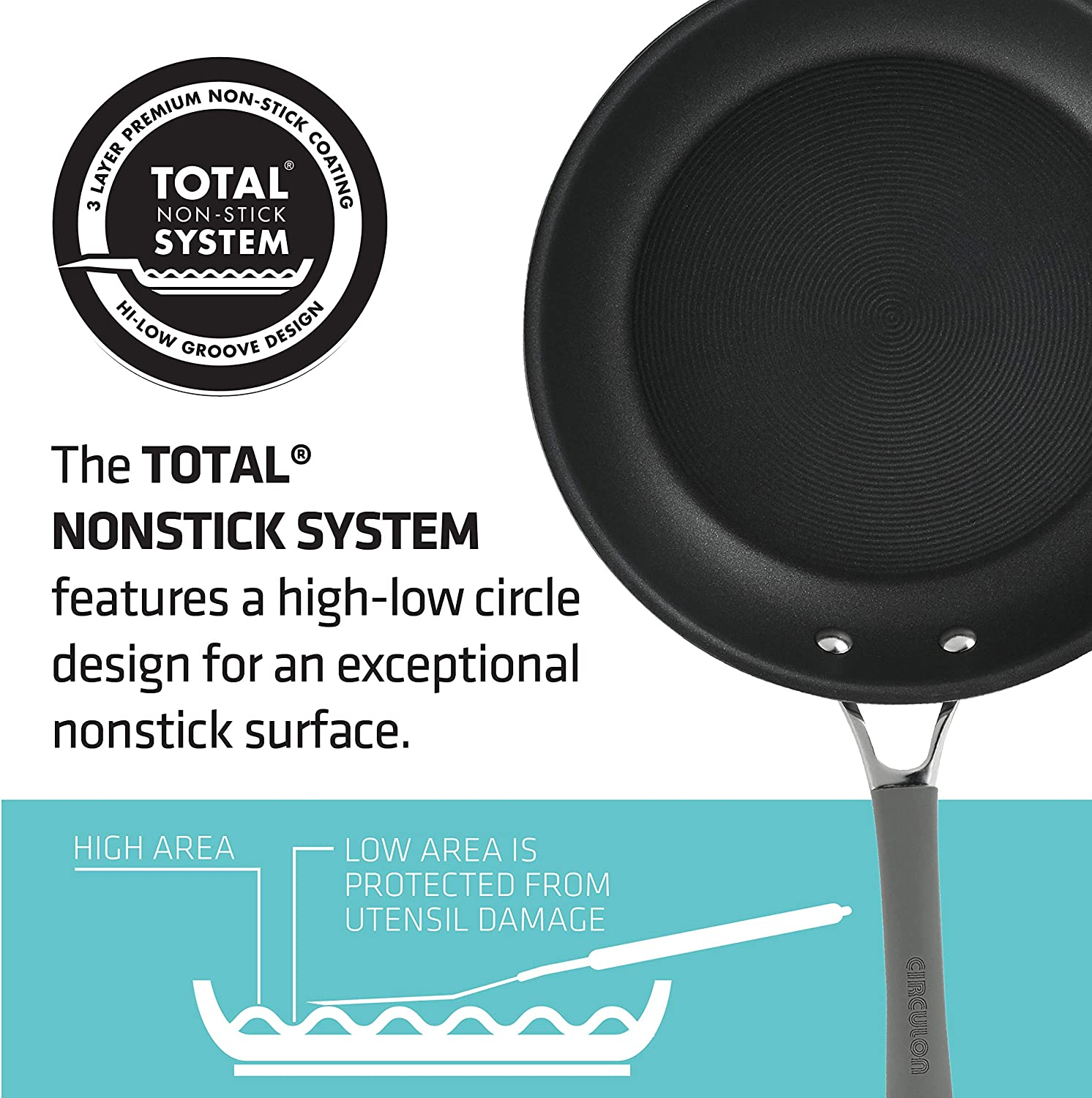 Griddle Circulon 84572 11 Deep Round Pan Hard Anodized Aluminum Grill Oyster Gray